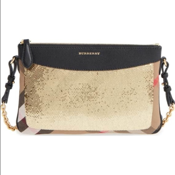 7282829ed389 Burberry Handbags - Burberry Peyton House Check   Sequin Crossbody Bag